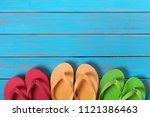 flip flops in a row old...   Shutterstock . vector #1121386463