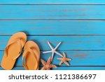 flip flops star fish summer...   Shutterstock . vector #1121386697