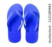 flip flops blue isolated on...   Shutterstock . vector #1121389883