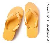 flip flop beach shoes yellow...   Shutterstock . vector #1121389907