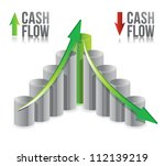 cash flow illustration graph over a white background - stock photo