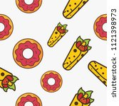 donut and kebab fast food... | Shutterstock .eps vector #1121398973