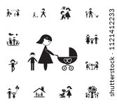 mother with a stroller icon.... | Shutterstock .eps vector #1121412233