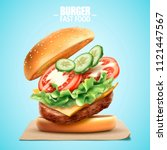 deluxe king size burger with... | Shutterstock .eps vector #1121447567