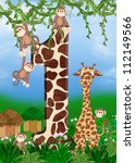 monkeys and giraffe design for first birthday - stock photo