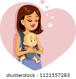 happy mother holding baby... | Shutterstock .eps vector #1121557283