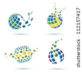 Abstract Globe Set Of Vector...