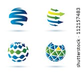 abstract globe vector icons ... | Shutterstock .eps vector #112157483