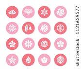 flowers flat glyph icons....   Shutterstock .eps vector #1121629577