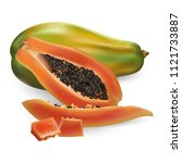 papaya on white background | Shutterstock . vector #1121733887