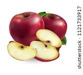 red apple on white background | Shutterstock . vector #1121733917