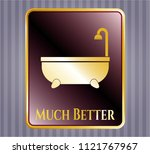 gold emblem with bathtub icon... | Shutterstock .eps vector #1121767967