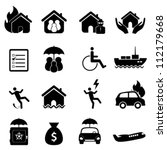 accident icon set in black - stock vector