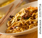 Chinese food - Beef lo mein closeup - stock photo
