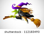vector illustration of halloween witch flying on broom - stock vector