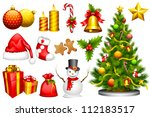 vector illustration of collection of design object for Christmas - stock vector