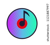 musical note with vinyl disk... | Shutterstock .eps vector #1121887997