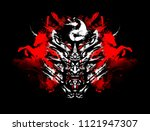 sinister toothy mask of the... | Shutterstock . vector #1121947307