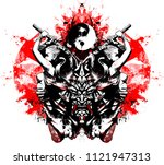 sinister toothy mask of the... | Shutterstock . vector #1121947313