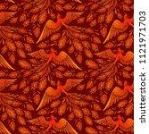 seamless phoenix fire bird... | Shutterstock .eps vector #1121971703