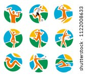 sport icons on round colorful... | Shutterstock .eps vector #1122008633