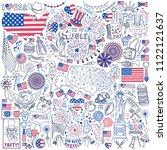 fourth of july doodle set....   Shutterstock .eps vector #1122121637