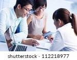 business team of three... | Shutterstock . vector #112218977