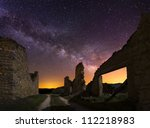Old ruins at night, Spain - stock photo