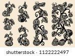 halloween pumpkins vector lace... | Shutterstock .eps vector #1122222497