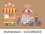 popcorn hot dog street cart and ... | Shutterstock .eps vector #1122280253