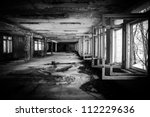 Abandoned Corridor in Chernobyl march 2012 - stock photo