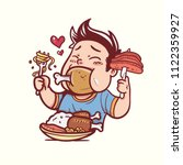 man eating a lot | Shutterstock .eps vector #1122359927