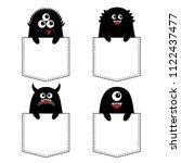 black monster silhouette set in ... | Shutterstock .eps vector #1122437477