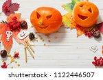halloween background with... | Shutterstock . vector #1122446507