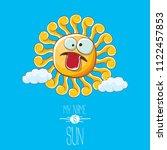 vector funky cartoon summer sun ...   Shutterstock .eps vector #1122457853