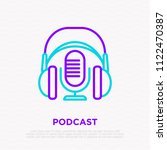 podcast thin line icon ... | Shutterstock .eps vector #1122470387