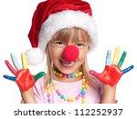 Happy Little Girl In Santa Hat...