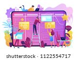 team members moving cards on... | Shutterstock .eps vector #1122554717