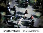 an elevated view of people... | Shutterstock . vector #1122601043