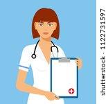 beautiful female nurse is... | Shutterstock .eps vector #1122731597