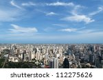 Bangkok cityscape with blue sky and clouds - stock photo