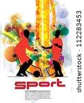 soccer player poster | Shutterstock .eps vector #112283453