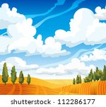 Autumn landscape with yellow meadow and green trees on a blue cloudy sky - stock vector