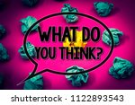 Small photo of Handwriting text What Do You Think Question. Concept meaning Opinion Sentiments Comment Judgment Conviction Huge emerald paper lobs surroundes yellow paper ball magenta color floor.