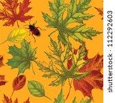 seamless wallpaper with autumn... | Shutterstock .eps vector #112292603