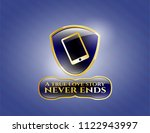 gold emblem or badge with... | Shutterstock .eps vector #1122943997