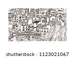 cinque terre is a string of... | Shutterstock .eps vector #1123021067
