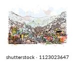 cinque terre is a string of... | Shutterstock .eps vector #1123023647