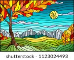 illustration in stained glass... | Shutterstock .eps vector #1123024493
