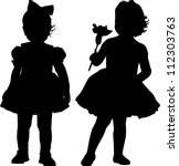 silhouettes of two small girls